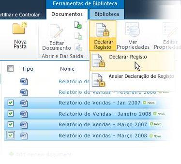Declarar vários itens como registos