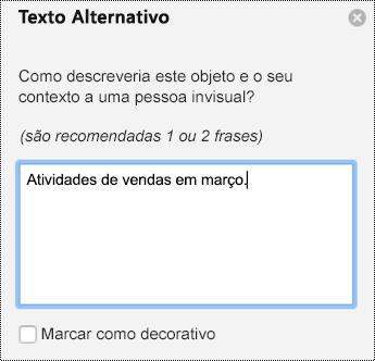 Painel texto alternativo para gráficos em PPT para Mac no Office 365.