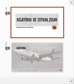 Os símbolos com números indicam a presença de comentários nos diapositivos