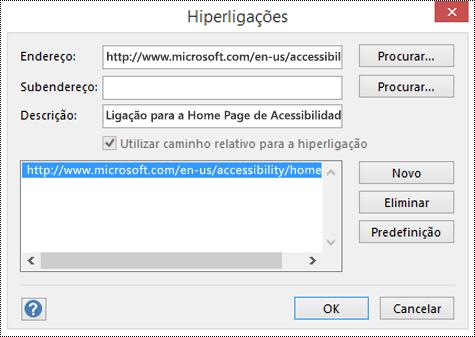 Caixa de diálogo Hiperligações para adicionar uma descrição a uma ligação no Visio.