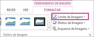 Comando Limite da Imagem no separador Formatar das Ferramentas de Imagem