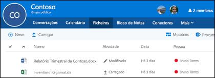 Clique em ficheiros no seu grupo do Office 365 para ver a lista de ficheiros e pastas armazenados no seu grupo