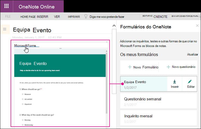 Inserir um formulário a partir da lista de formulários no formulários para o painel do OneNote