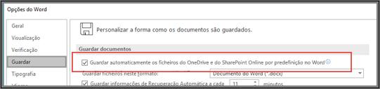 A caixa de diálogo Ficheiro > Opções > Guardar a apresentar a caixa de verificação para ativar ou desativar a funcionalidade Guardar Automaticamente