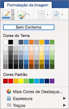 São apresentadas as cores de contorno para um limite.
