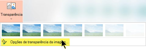 Opções de Transparência de Imagem permitem-lhe escolher um nível personalizado de opacidade para uma imagem