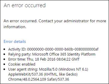 Erro de configuração de ADFS