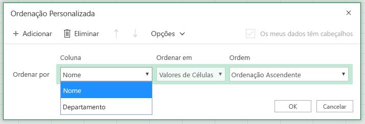 """Caixa de diálogo de ordenação personalizada com a coluna de ordenação por linha selecionada na coluna """"Nome"""""""