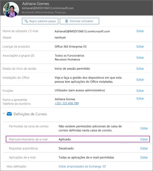 Captura de ecrã a mostrar a página do perfil de utilizador para o utilizador com o nome Rita Santos com o reencaminhamento de e-mail definido para Aplicado e uma opção de edição disponível.