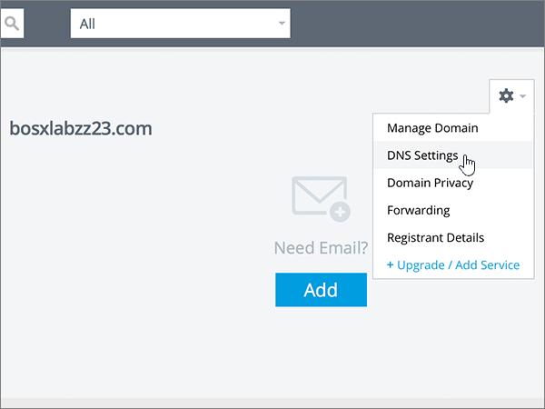 Clicar em DNS Settings (Definições de DNS) na lista