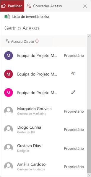 A secção de acesso direto do painel Gerir acesso no OneDrive para empresas