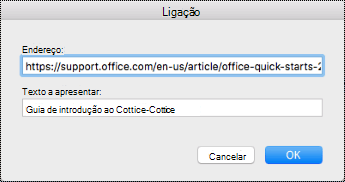 Caixa de diálogo Hiperligação no Mac.