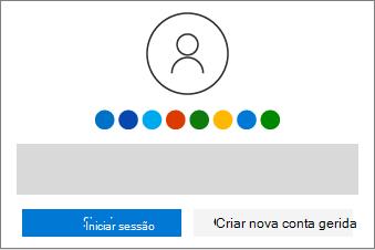 Mostra os botões para iniciar sessão ou criar uma nova conta.