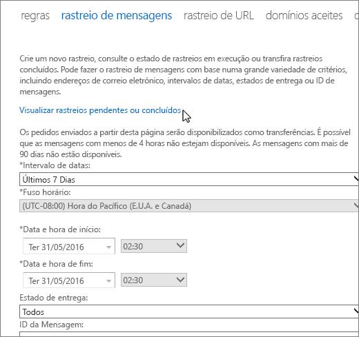 """Captura de ecrã da ferramenta de rastreio de mensagens com um cursor a pairar sobre a ligação """"Visualizar rastreios pendentes ou concluídos""""."""