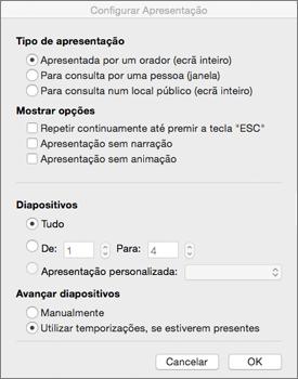 Configure o tipo de apresentação e outras opções antes de distribuir a apresentação
