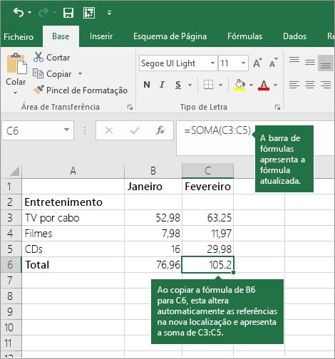 Ao copiar uma fórmula, as referências de células são atualizadas automaticamente