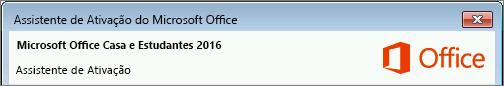 Mostra a versão do Office conforme apresentada no Assistente de Ativação.