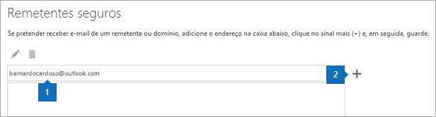 Captura de ecrã a mostrar a página de remetentes Seguros.