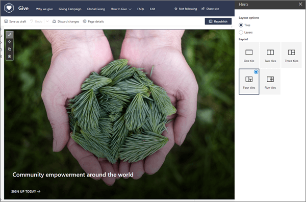 As opções de esquema para a peça Web do herói enquanto edita uma página moderna no SharePoint