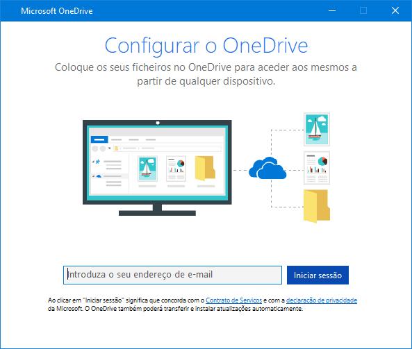Nova IU do ecrã de configuração do OneDrive
