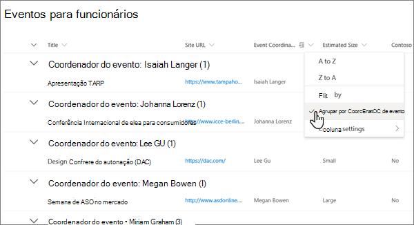 A partir do menu cabeçalho de coluna na vista de lista, a opção Agrupar por ativada na experiência moderna do SharePoint