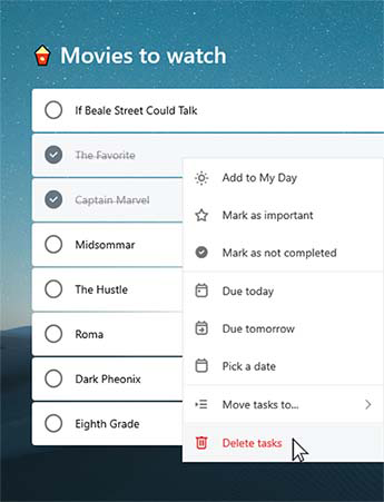 No Filme para ver lista são selecionadas duas tarefas completas. O menu de contexto está aberto com a opção de Eliminar tarefas selecionadas