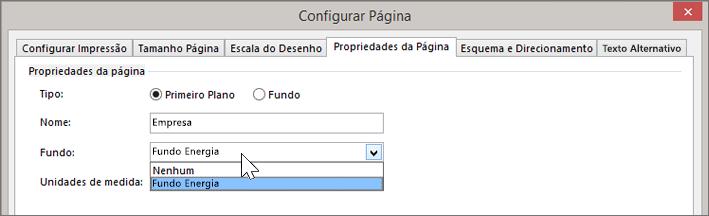 Captura de ecrã a mostrar a opção Configurar Página > Propriedades da Página, com o Fundo Energia selecionado no menu pendente Fundo
