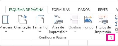 Clique na seta no canto inferior direito do grupo Configuração da Página