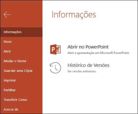 O separador informações do Office Online a mostrar o item histórico de versões.