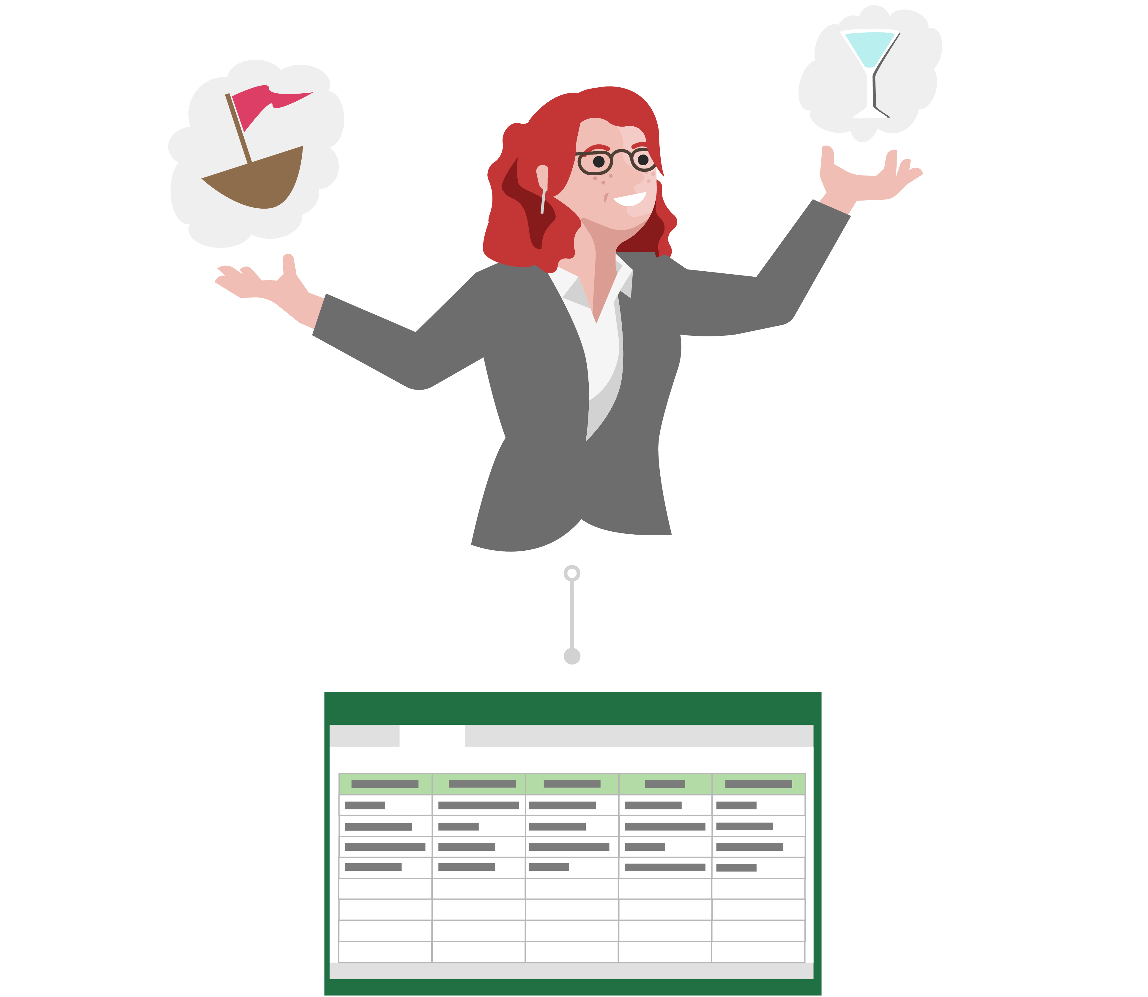 Raquel precisa de feedback sobre as suas ideias, por isso cria uma folha de cálculo e guarda na nuvem.