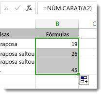 Introduzir várias funções NÚM.CARAT numa folha de dados