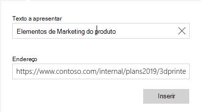 Caixa de diálogo hiperligação do correio para Windows 10