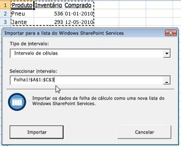 Importar para lista do SharePoint