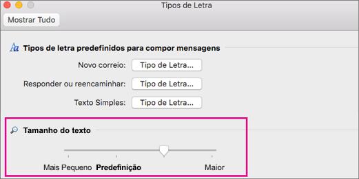 Mover o controlo de deslize para a esquerda ou para a direita para alterar o tamanho da apresentação do texto