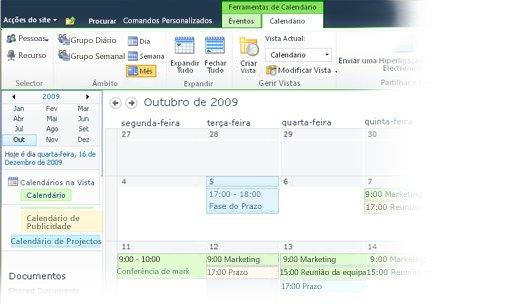 Utilizar vários calendários no SharePoint