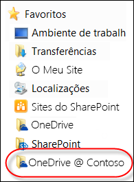 Pasta do OneDrive para Empresas sincronizada nos Favoritos do Explorador de Ficheiros
