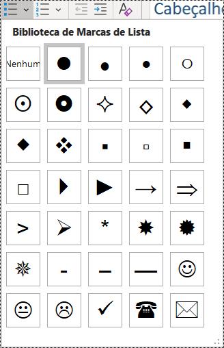 Captura de ecrã a mostrar a seleção de item na lista com marcas no menu Base.