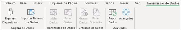 O suplemento Transmissor de Dados no menu do friso do Excel