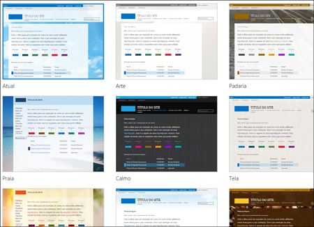 Página do SharePoint Online, que mostra imagens de modelos de sites