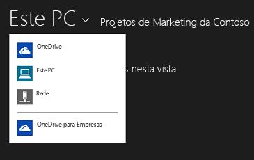 Selecionar o OneDrive para Empresas a partir de outra aplicação