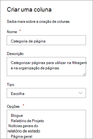 Exemplo de configuração de uma coluna de escolha de categoria para Blogues