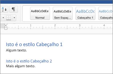 Exemplos dos estilos Cabeçalho 1 e Cabeçalho 2 num documento