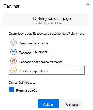 Utilizar a caixa de diálogo Definições de ligação para especificar permissões para uma ligação de partilha