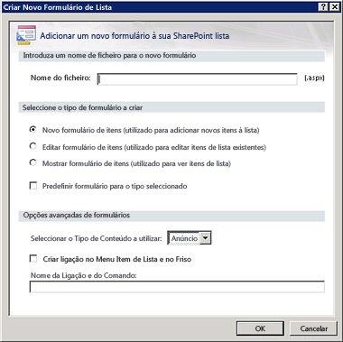 Formulários do SharePoint Designer