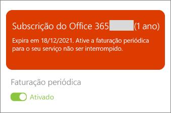 Reveja os detalhes da sua subscrição do Office 365