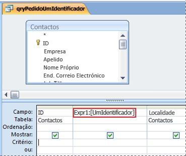 Consulta que contém uma expressão que faz com que a caixa de diálogo 'Valor do parâmetro' seja apresentada