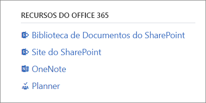 Recursos do Office 365