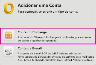Ferramentas > Contas > Conta do Exchange