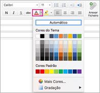 Selecionador de cor do tipo de letra no Outlook para Mac