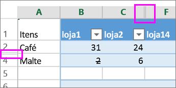 Barra dupla nos cabeçalhos de coluna ou linha indica colunas ou linhas ocultas